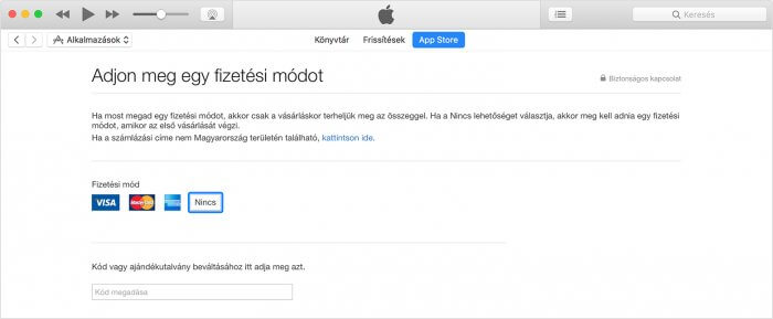 """iTunes – a """"Nincs"""" fizetési mód kiválasztása."""