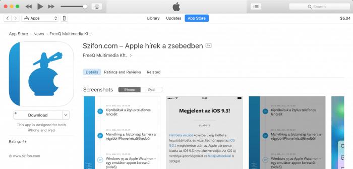 A Szifon.com app az iTunes Store-ban az Alkalmazások alatt.