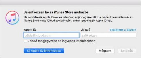 iTunes – Új Apple ID létrehozása bejelentkezés helyett.