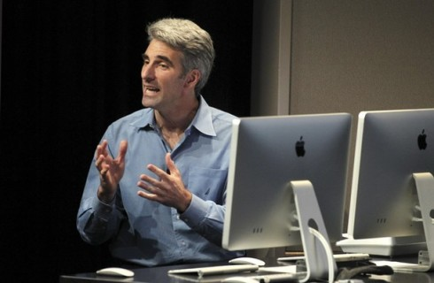 Federighi talks about the latest improvements to the company's Mac software during a news conference at Apple Inc. headquarters in Cupertino