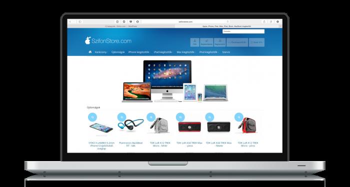 Borítókép: A SzifonStore webáruházunk oldala egy MacBook Pro készüléken megnyitva teljes képernyőn.