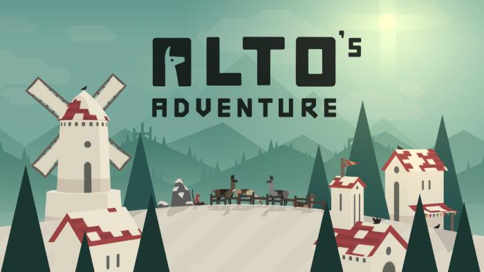 Borítókép: Alto's Adventure nyitókép: havas tájon, egy dombtetőn pár ház a kép két oldalán, egy szélmalom, fenyőfák, és középen egy karámban a lámák, amik el fognak szökni, a háttérben pedig hegyek magasodnak.