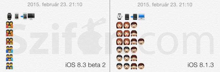 A kép bal oldalán a család emoji egyetlen karakterként szerepel, a jobb oldalon, az iOS korábbi változatában pedig az egyes személyek külön karakterként jelennek meg.