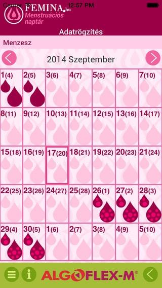 menzesz naptár alkalmazás Női olvasóinknak: Femina M menstruációs naptár   Szifon.com menzesz naptár alkalmazás