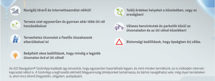 Kép: Az iGO SzülinApp funkcióinak felsorolása.