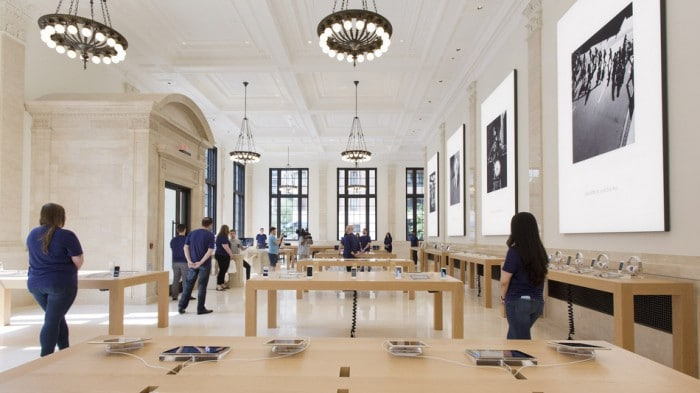 Apple's new store is shown, Thursday, June 11, 2015 in New York. To create the newest Apple store to sell iPhones, smartwatches and other modern gadgetry, Apple took a look back at the 1920s. The new store on New York's Upper East Side occupies part of a Beaux Arts building that originally housed the U.S. Mortgage & Trust bank. The store opens Saturday to the public. (AP Photo/Mark Lennihan)
