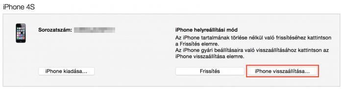 Kép: Egy iPhone 4s helyreállítási módban az iTunes-ban a 9.3.2 visszaállításához.