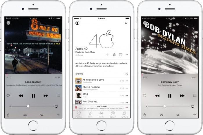 """Kép: Az Apple Music """"Apple 40"""" lejátszási lista képernyőképei az iPhone-on."""