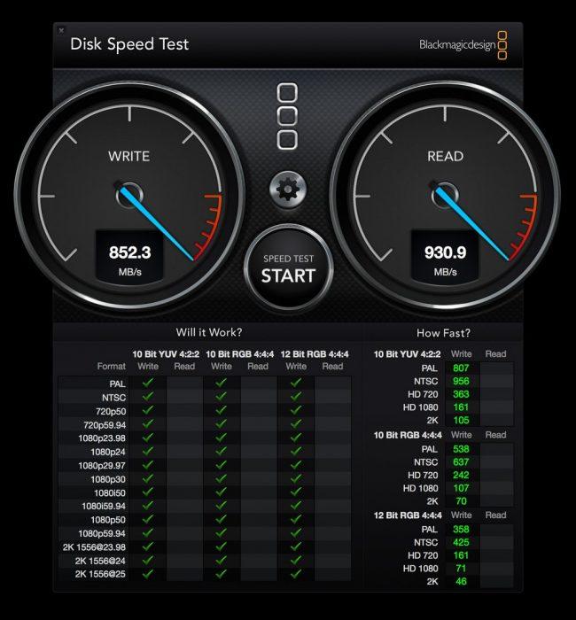 Kép: BlackMagic sebességteszt: 852,3MB/s írás, 930,9MB/s olvasás.