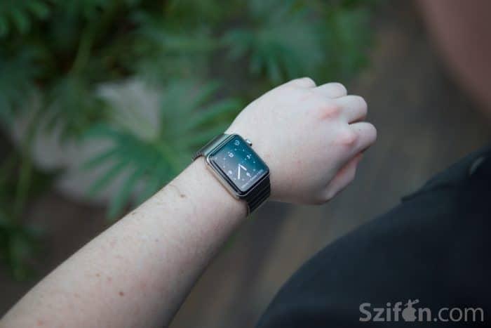 Kép: Rozsdamentes acél Apple Watch Link Bracelet szíjjal.