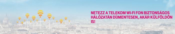 Telekom Wi-Fi Fon banner, a következő szöveggel: Netezz a Telekom Wi-Fi Fon biztonságos hálózatán díjmentesen, akár külföldön is!