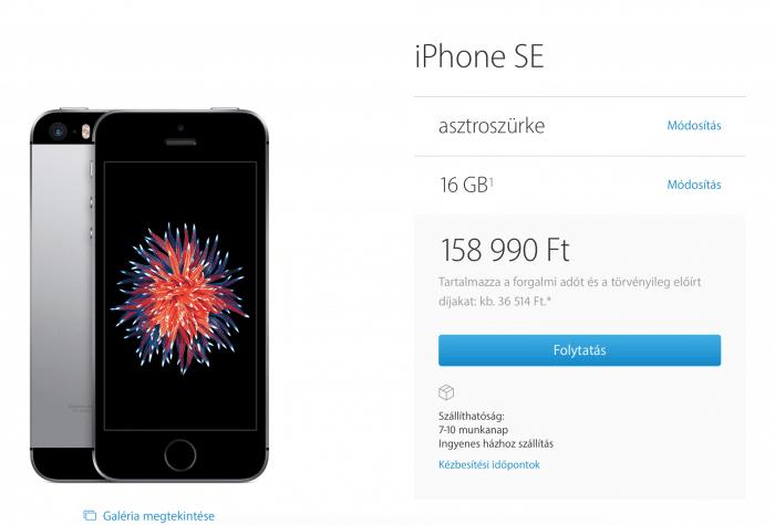 Kép: iPhone SE a magyar online Store-ban, asztroszürke színben, a 16 gigabájtos modell ára bruttó 158990 forint, szállíthatósága 7-10 munkanap.