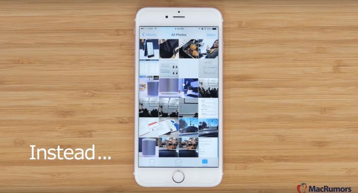 Borítókép: Sok fotó a Fotók appon belül egy iPhone 6s készüléken.