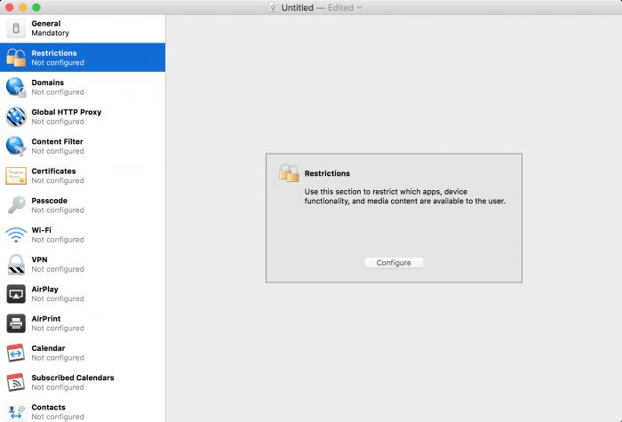 Kép: Apple Configurator: a korlátozások opció bekapcsolása.
