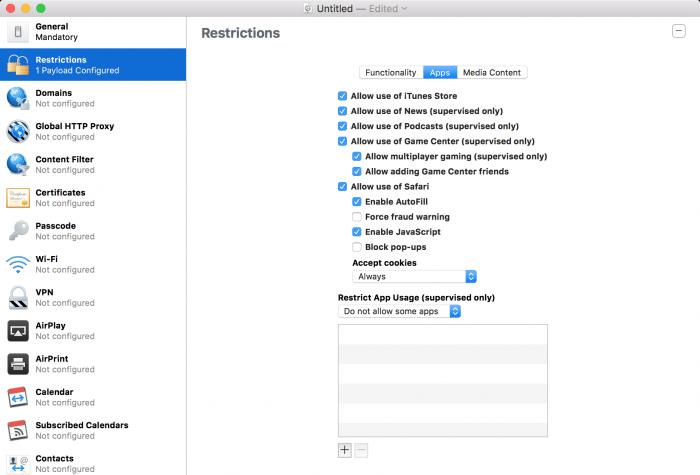Kép: Apple Configurator: az alkalmazásokra vonatkozó beállítások részletei a korlátozások menüpont alatt.