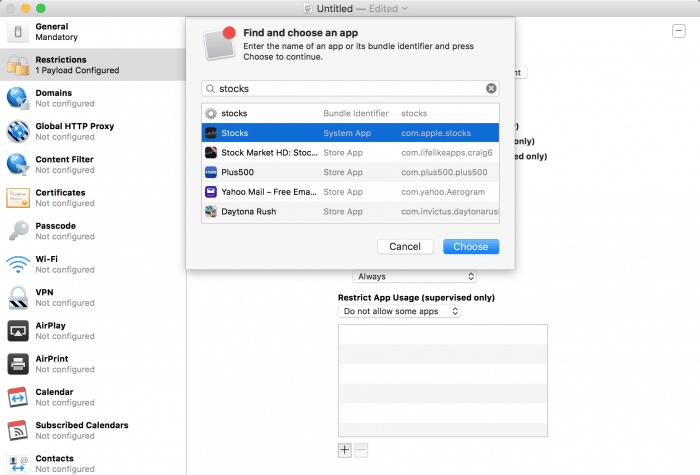 Kép: Apple Configurator: elrejteni kívánt app hozzáadása név vagy bundle ID alapján – a példában a Részvények app szerepel.