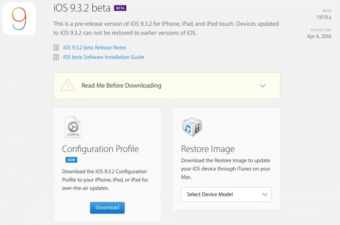 Kép: Az iOS 9.3.2 beta részletei az Apple fejlesztői központjában.