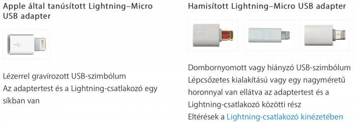 Kép: Eredeti és nem eredeti Lightning-mikro USB adapterek összehasonlítása, a részletek a következő két bekezdésben.