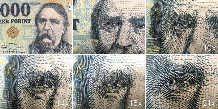 Kép: Egy húszezer forintos bankjegy egyszeres, hétszeres, tízszeres, tizennégyszeres, tizenötszörös és huszonegyszeres nagyításban a makró lencsékkel fotózva.