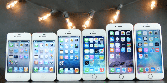 Borítókép: Hat darab fehér iPhone egymás mellett, minden generációból egy az iPhone 4-től kezdve (kivéve az iPhone 5c és az iPhone SE).