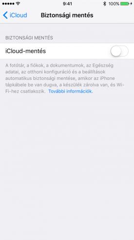 Kép: iCloud mentés az iPhone-on, kikapcsolt állapotban.