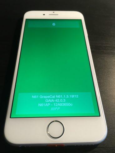 Kép: Az iPhone 6 prototípus egyik alkalmazása megnyitva, gyakorlatilag egy zöld képernyő némi szöveggel.