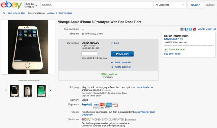 Borítókép: Egy iPhone 6 prototípus aukciós oldala az eBay-en.