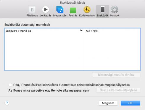 Kép: A biztonsági mentések listája az iTunes Eszközbeállítások menüjében.