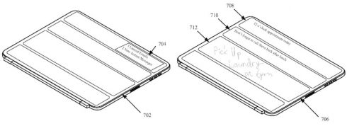 Kép: Vázlatrajz az iPad tok külső felületére helyezett kijelzőről.