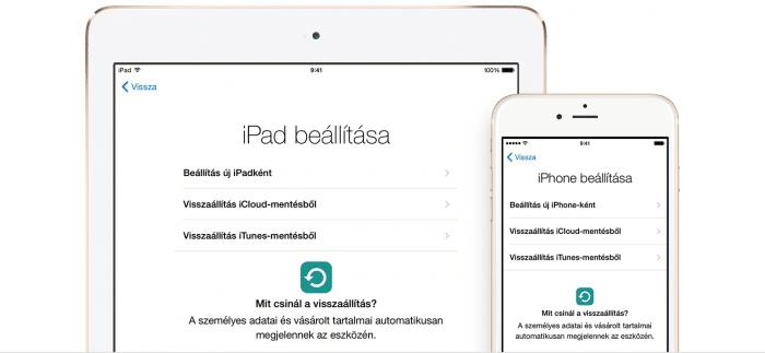 Borítókép: iPad és iPhone a Beállítási asszisztens képernyőjével.