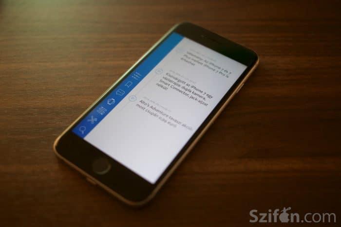 Kép: A Szifon.com alkalmazás 3.1-es verziójának képe a könyvjelzők közé mentett cikkekkel.