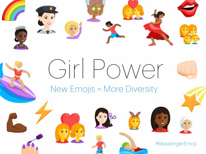"""Kép: A Facebook Messenger esetén elérhetővé váló """"girl power"""" emojik."""