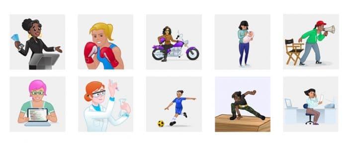 Kép: Új Skype emojik, szintén hölgyekkel.