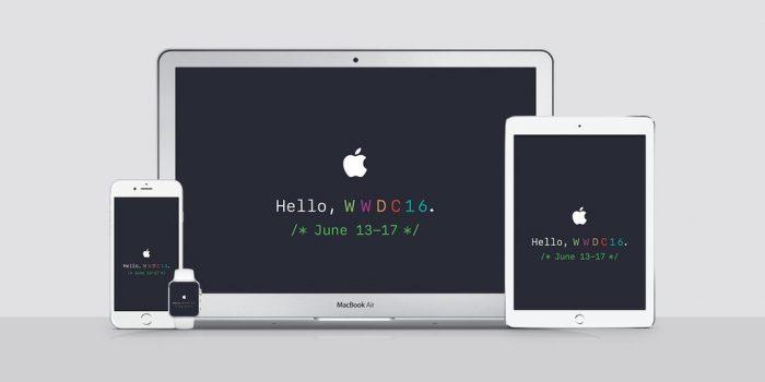 Kép: A WWDC meghívója és oldala alapján készült háttérképek: fehér alma logó, alatta a Hello, WWDC16 szöveg és a június 13-17-es dátum.
