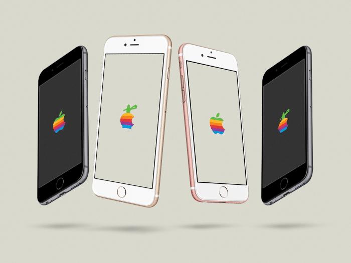 Kép: A szivárványszínes Apple logó – és annak mintájára Szifon logó.