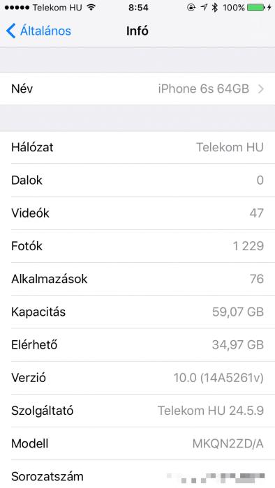Kép: iOS 10 beta 1 esetén pedig már 59,07GB a teljes felhasználható kapacitás.
