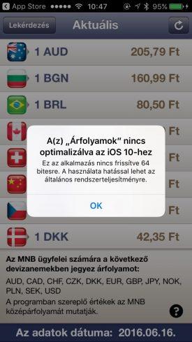 Borítókép: Az iOS 10 által feldobott figyelmeztetés, ha egy app csak 32 bites.