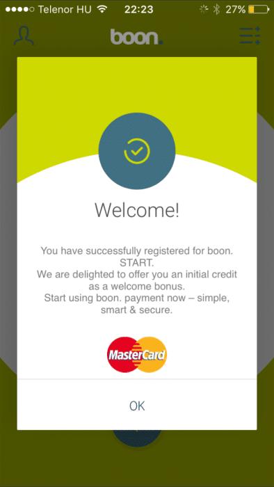 Kép: A befejezett regisztráció visszaigazoló képernyője.