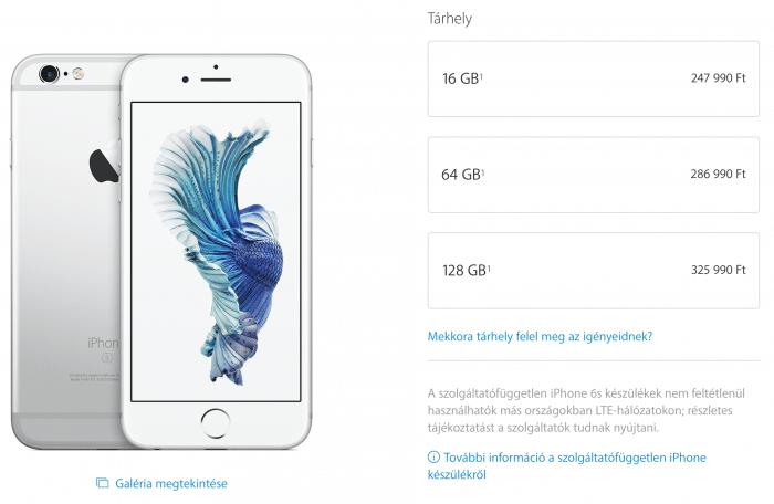Borítókép: Az iPhone 6s esetén elérhető tárhely-kapacitások: 16, 64 és 128GB.