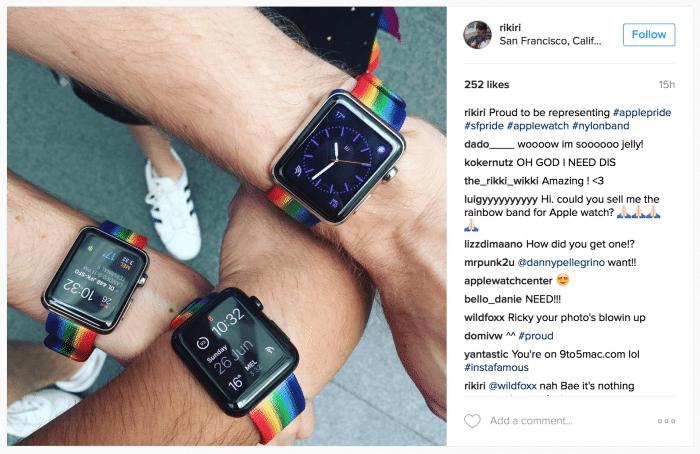 Kép: Instagram fotó, amin három csuklón is ez a különleges szíj látható.