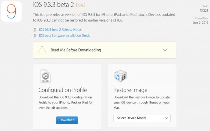 Kép: Az iOS 9.3.3 beta 2 részletei az Apple fejlesztői központjában.