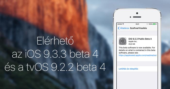 Borítókép: Elérhető az iOS 9.3.3 és a tvOS 9.2.2 negyedik bétája.