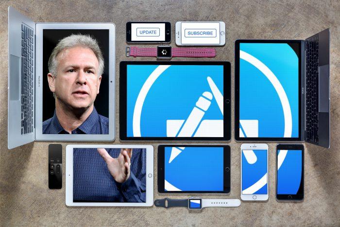 Borítókép: Phil Schiller és az App Store ikonja több készülék képernyőjével mozaikként kirakva.