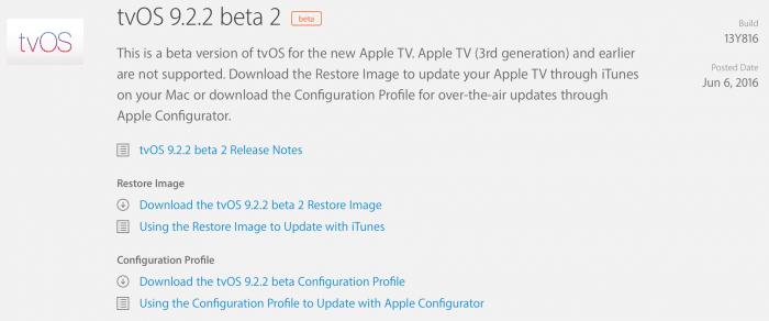 Kép: Az tvOS 9.2.2 beta 2 részletei az Apple fejlesztői központjában.