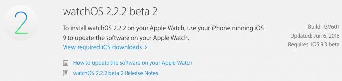 Kép: A watchOS 2.2.2 beta 2 részletei az Apple fejlesztői központjában.