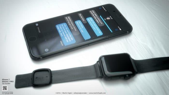 Kép: A teljesen fekete készülék és mellette egy asztrofekete Apple Watch modern csatos szíjjal.