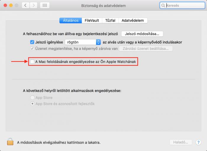 Kép: A Mac feloldásának engedélyezése az Apple Watch használatával opció a macOS Sierra Rendszerbeállítások alatt.