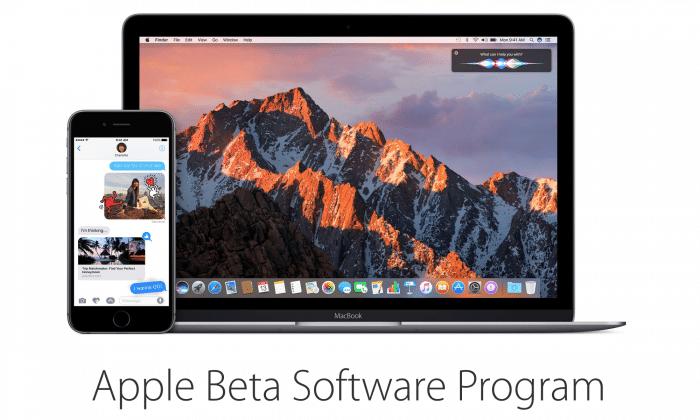 Borítókép: Az Apple Beta Software Program oldalának nyitóképe az iOS 10-zel és a macOS Sierrával.