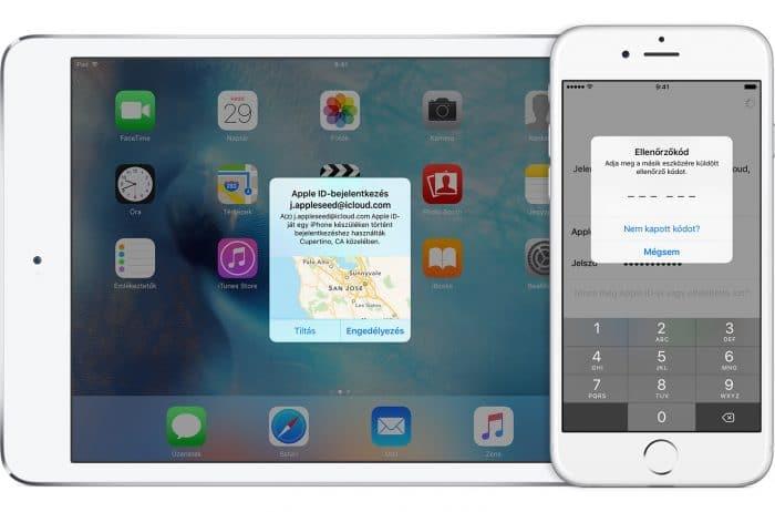 Borítókép: Az Apple kétfaktoros hitelesítése egy iPhone és egy iPad képernyőjén.