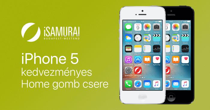 Borítókép: iPhone 5 Home gomb csere akció banner.